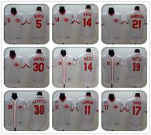 2016 Mens 5 Johnny Bench 11 Barry Larkin 14 Pete Rose 19 Joey Votto 21 Deion Sanders Flexbase White series baseball Jerseys(China (Mainland))