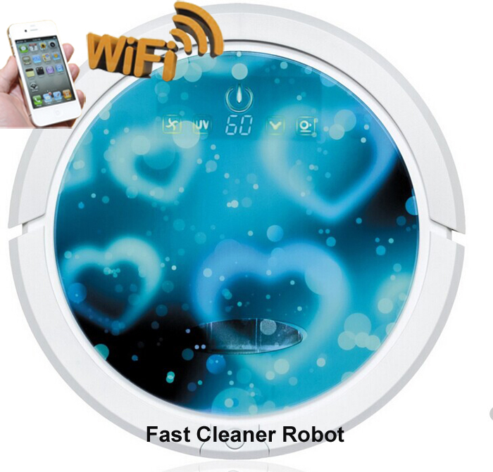 Lithium Battery WIFI Smartphone APP Control Auto Vacuum Cleaner Robot With Water Tank, Self Recharge, UV Lights, Wet and Dry Mop(China (Mainland))