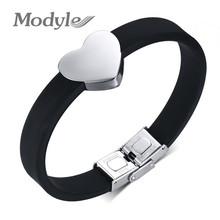 Fashion Jewelry Sale Top Quality Stainless Steel Heart Bracelet For Woman 2016 New Silicone Bracelets & Bangles(China (Mainland))