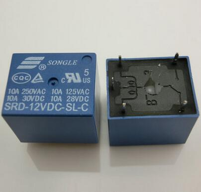 4pcs 10A 5 pins SONGLE SRD PCB power Relay 5 Pins RELAY 12V DC Coil Power Relay SRD-12VDC-SL-C Type In stock(China (Mainland))