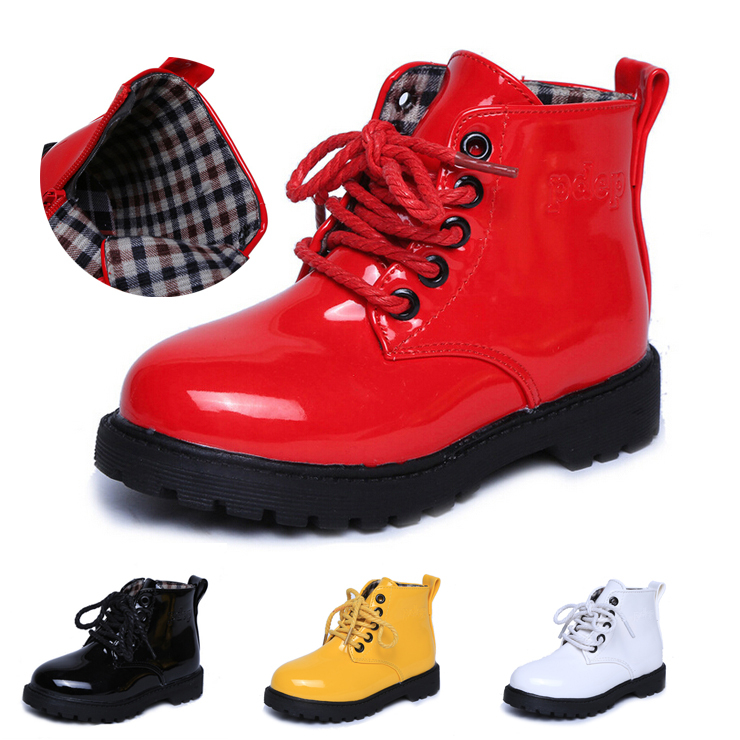 2015 Autumn Winter Fashion children martin boots bright japanned motorcycle boys girls snow PU sneakers Kids casual shoes boots(China (Mainland))