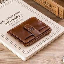 BULLCAPTAIN Genuine Leather RFID Blocking zipper card holder Credit Cart Wallet mini slim wallet card & id holders man business(China)