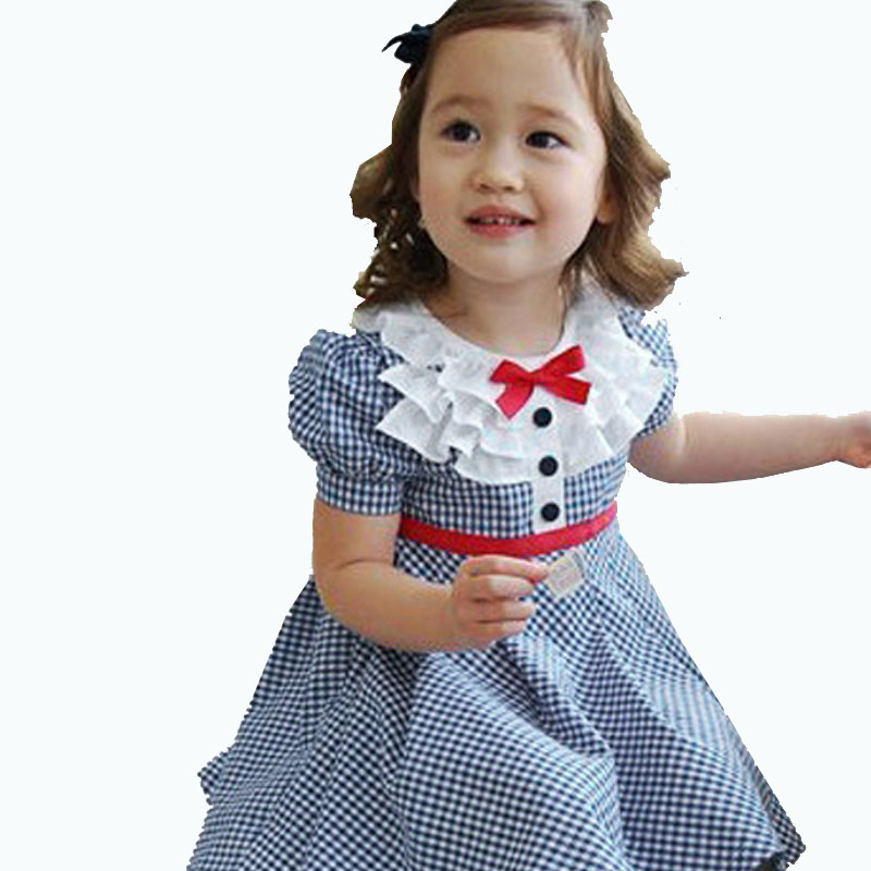Fashion Baby Girls Summer Clothes Preppy Style Navy font b Plaid b font Puff Sleeve A