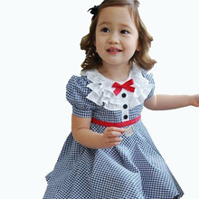 Fashion Baby Girls Summer Clothes Preppy Style Navy Plaid Puff Sleeve A-line Toddler Girl Dresses Kids Cotton Princess Costume