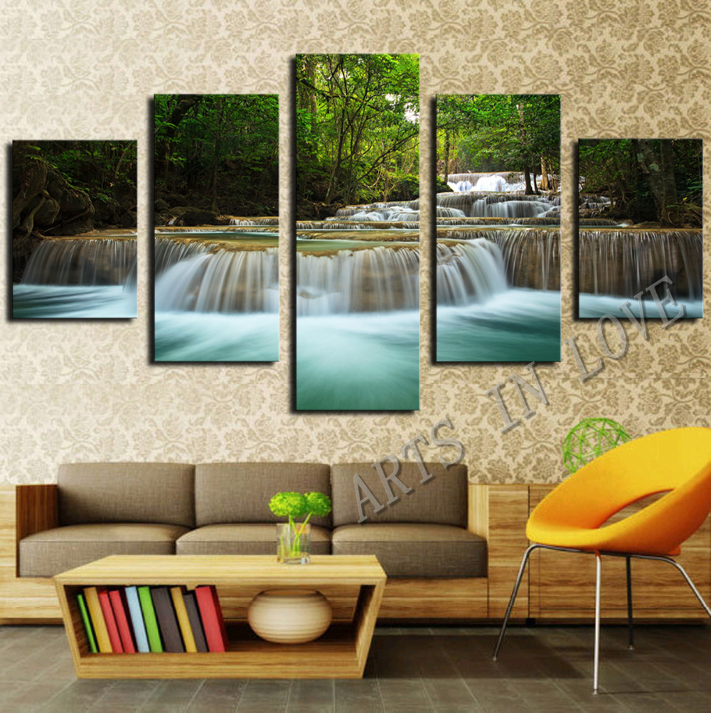 5 Panel Waterfall Painting Canvas Wall Art Picture Home Decoration Living Room Canvas Print Painting--Large Canvas Art Unframed(China (Mainland))