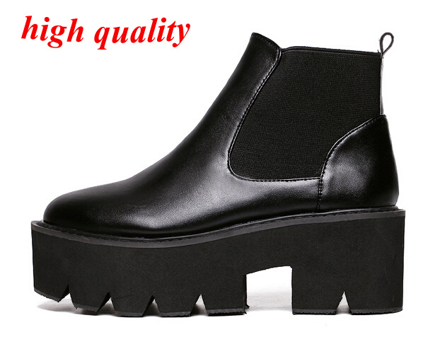 winter shoes women autumn boots black brown botas femininas platform boots chunky heel ankle boots woman Punk leather boots Y650