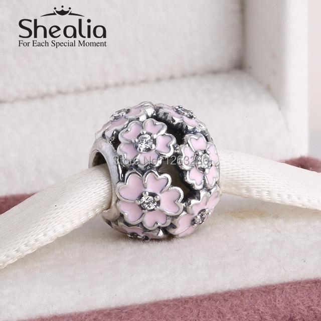 Весна коллекция 925 чистое серебро энотеры подвески-талисманы с камнями и розовый эмаль shealia ювелирные изделия подходит своими руками браслеты SH0614