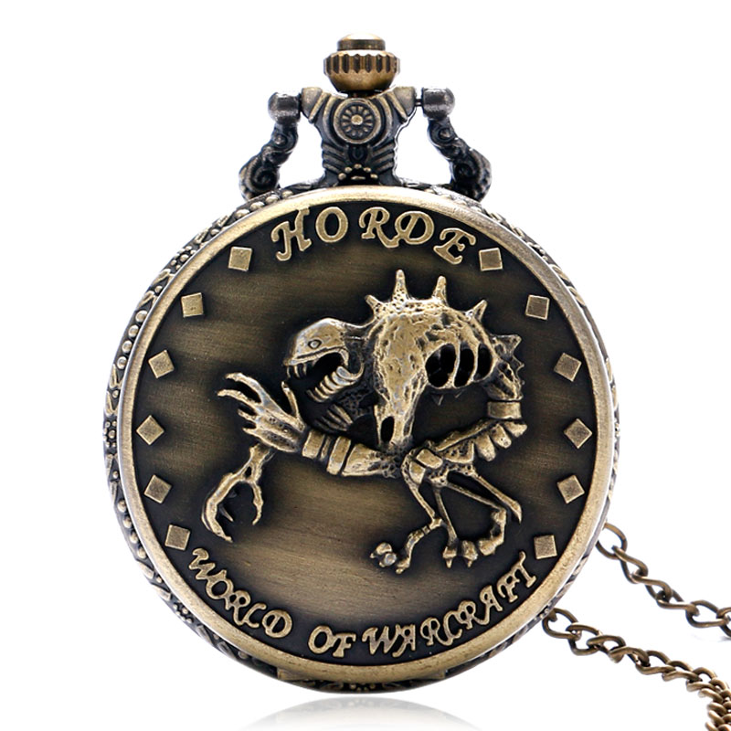 Cool Bronze Ghoul Design Case Quartz Fob Pocket Watch with Necklace Chain for World of Warcraft Game Fans Best Gift(China (Mainland))