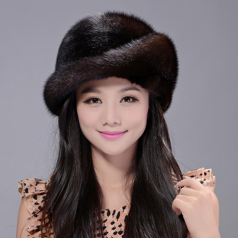 winter fur hats real mink fur hat thick knitted