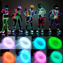 1pc 3M Flexible EL Wire Tube Rope Battery Powered Flexible Neon Light Car Party Wedding Decoration With Controller(China (Mainland))