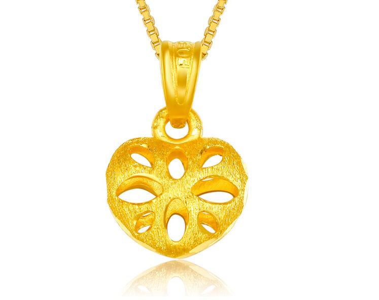 Pure 999 24K Yellow Gold Lucky Hollow Heart Pendant <br>