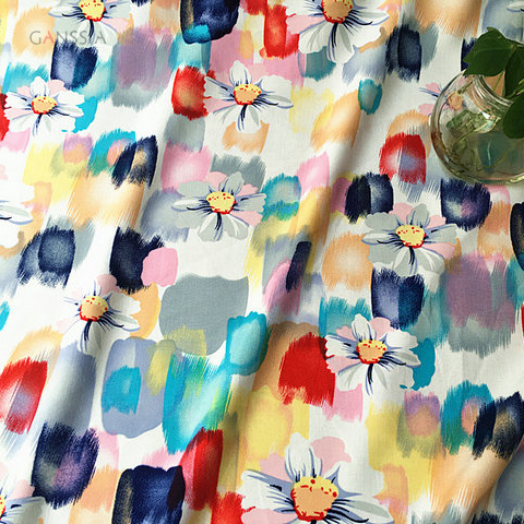 60s Good quality ink painting flowers design aole fiber fabric for summer dress Soft fabric for DIY Garment accessories(ss-7201)(China (Mainland))
