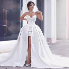 Fashionable 2016 High Low Short Lace Wedding Dress Sexy V Neck Beading Detachable Train Wedding Gowns Custom Two Pieces(China (Mainland))