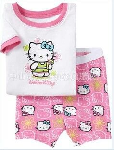 Retail girls boys 100% cotton Hello Kitty baby pajamas kids Despicable Me short-sleeved top+pants baby pyjamas(China (Mainland))