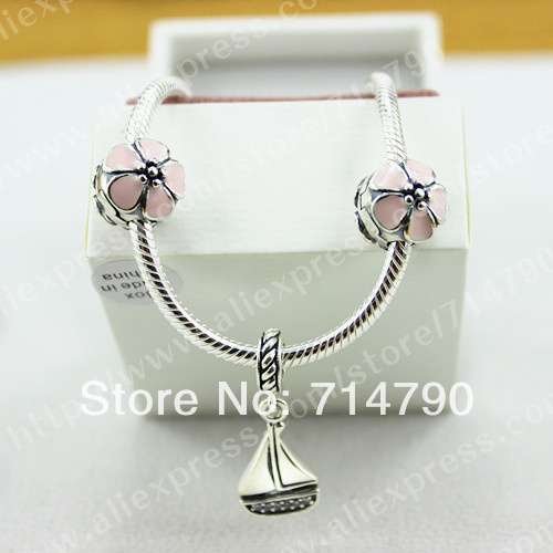 925 Sterling Silver Cherry Blossom Clip Charms and Sail Away Dangle Starter Charm Bracelet