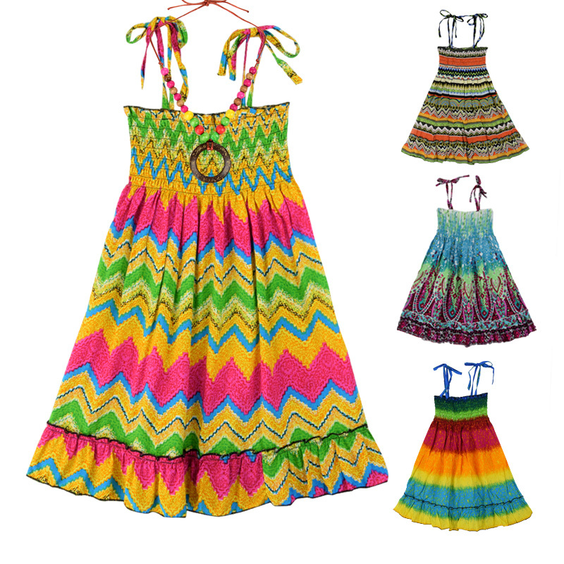 2015 Summer Girls Bohemian Beach Dress Fashion Colorful Girl Suspender Rainbow Dresses & Necklace Children Kids Sundress CA205(China (Mainland))