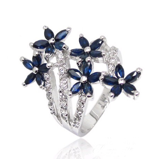 Free shipping!!! Natural sapphire Flower Ring with 925 silver,birthstone for September,from the bigget sapphire mine in China<br><br>Aliexpress