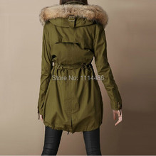 Parkas for Woman Tops New Winter Fashion Raccoon Fur Collar Casual Dress Size S 2XL bust