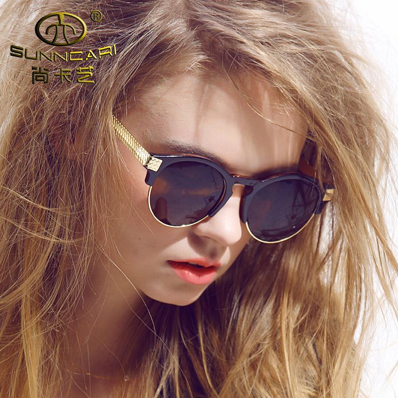 Women Club Sunglasses Master Half Metal Frame Round Mirror Sunglass Lady Brand Designer Vintage Glasses Eyewear Oculos De Sol(China (Mainland))