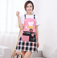 New Fashion Korean Women Kitchen Apron Cute Cartoon Chef Design Housewife Oil Proof Plaid Cooking Aprons