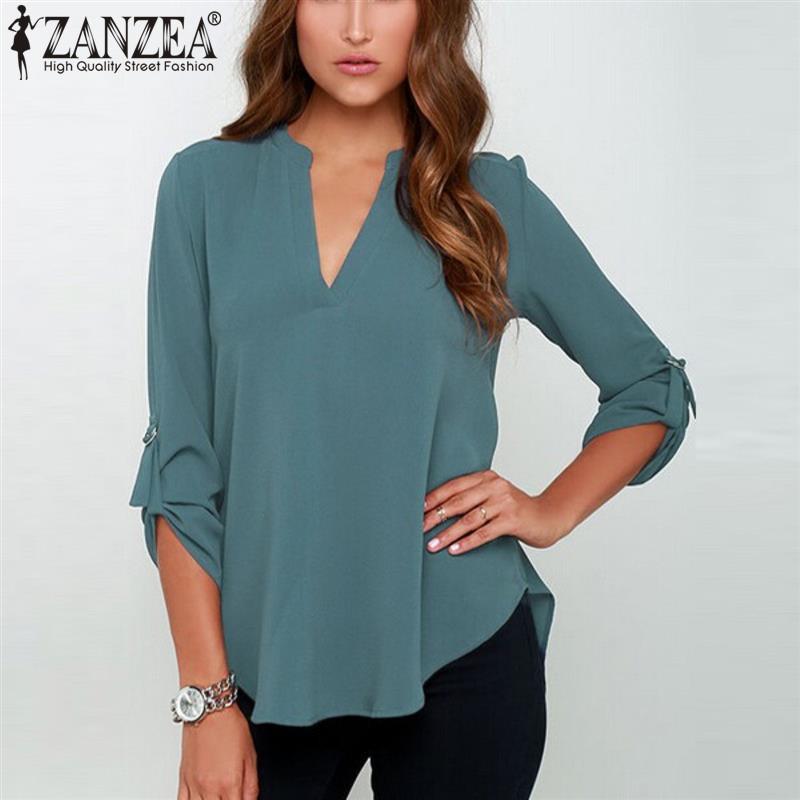 Zanzea 2017 Spring Women V Neck Chiffon Blouse Tops Fashion OL Style Fold Long Sleeve Casual Gray Blouses Plus Size Blusas Shirt