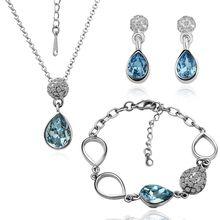 HOT 18K Platinum gold blue Rhinestone necklace bracelet  Earrings Austrian Crystal earrings wedding Jewelry set(China (Mainland))