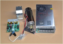 high speed spindle ER11 48V 400W brush air cooled PCB spindle motor + power supply + mach3  speed controller + fixed seat #642-1(China (Mainland))