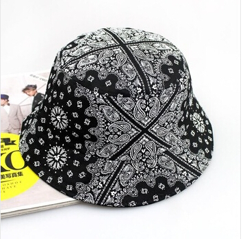 2015 the new fashion summer sun hat for women men bucket hats print dome fishman cool caps sale Bob(China (Mainland))