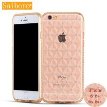 Saiboro Girl's Fashion Ultra Thin Transparent TPU Bling Rhinestones Lattice Cover Crystal Diamond Case for iPhone6s 6sp SBR 0012