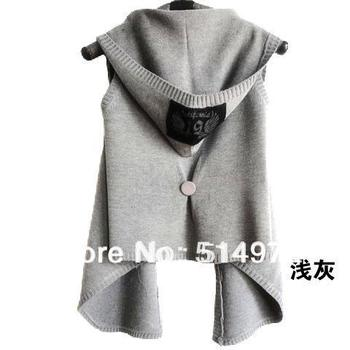 New 2014 Dress Woman Cardigan Solid Color Sleeveless Hooded Sleeveless Sweater Vest Best Selling Free Shipping