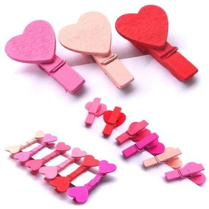 Cheap New 12Pc/BAG Mini Photo Clips DIY Heart Love Wooden Clothes Photo Paper Peg Pin Clothespin Craft Clips Hot Sale(China (Mainland))