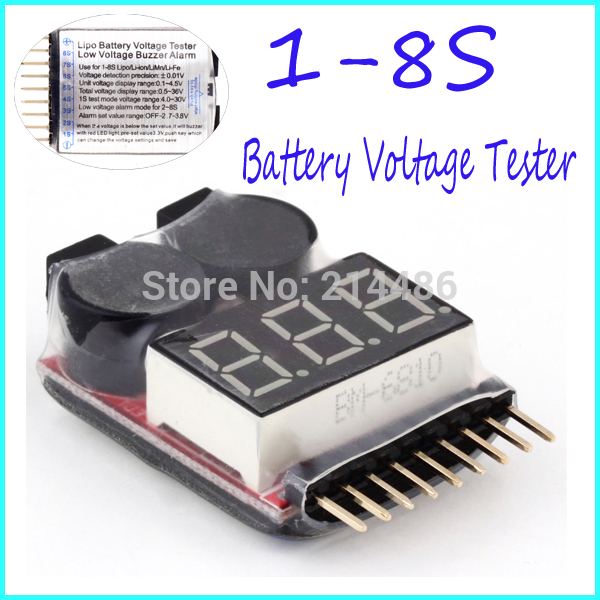 1-8S Lipo/Li-ion/Fe Battery Voltage 2IN1 Tester Low Voltage Buzzer Ala