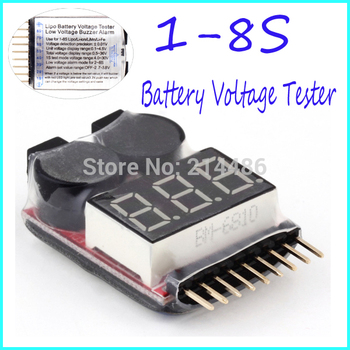 for 1-8S Lipo/Li-ion/Fe Battery Voltage 2IN1 Tester Low Voltage Buzzer Alarm Hot Selling
