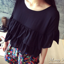 Women Short Sleeve Shirt Casual Blouses Sexy Fashion Bat Sleeve Chiffon Shirt Solid Color Black Red Shirt Plus Size