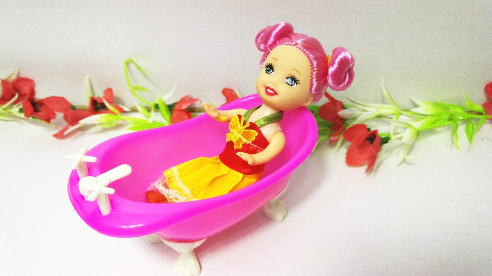 High Quality Cute Red Kelly Doll Baby Bathroom Bathtub Barbie accessaries  Toy Play House Dec for. Wholesale Barbie Dolls Cottage