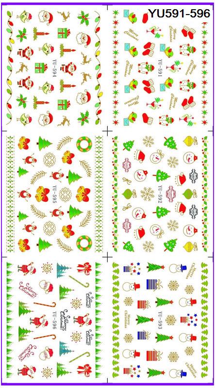 6 PACK/ LOT WATER DECAL NAIL ART NAIL TRANSFER STICKER XMAS CHRISTMAS SANTA CLAUSE DEER YU591-596(China (Mainland))