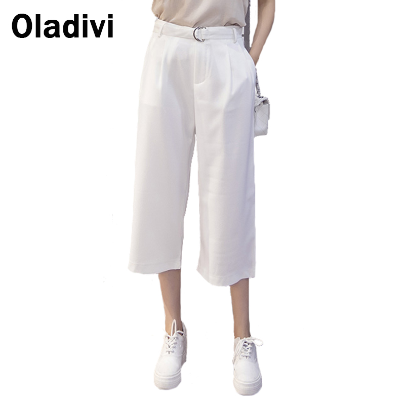 Solid Color Wide Leg Casual Pants 2016 Summer New Style Women Loose Trousers Pantalones Capris Small Size White Red Black Gray(China (Mainland))