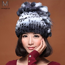 Winter fur hat for women real rex rabbit fur hat with silver fox fur flower knitted beanies 2016 new sale high-end women fur cap(China (Mainland))