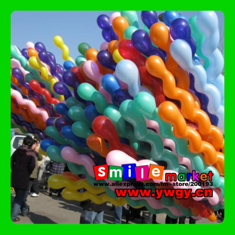 SMILE MARKET Hot!!! 100pcs/lots Long spiral Latex screw Balloons for Festival Party Decoration(Random send various colors)(China (Mainland))