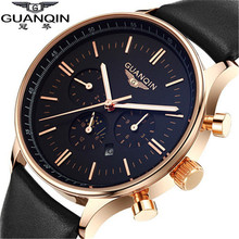 Relogio Masculino Original GUANQIN Fashion Quartz Watch Waterpoof Leather watches men luxury brand gold black wristwatches 12003