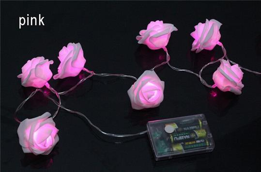 2M 20LED led strings with beautiful roses, wedding room decoration, 3 aaa battery operated holiday lighting, hot sale(China (Mainland))