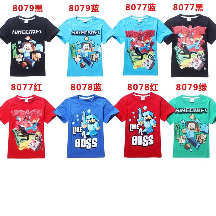 Promotion Fashion Kid T Shirt Minecraft Run Away Glow In The Dark Video Game T-shirt Boys Clothes Girls Children Tshirts(China (Mainland))