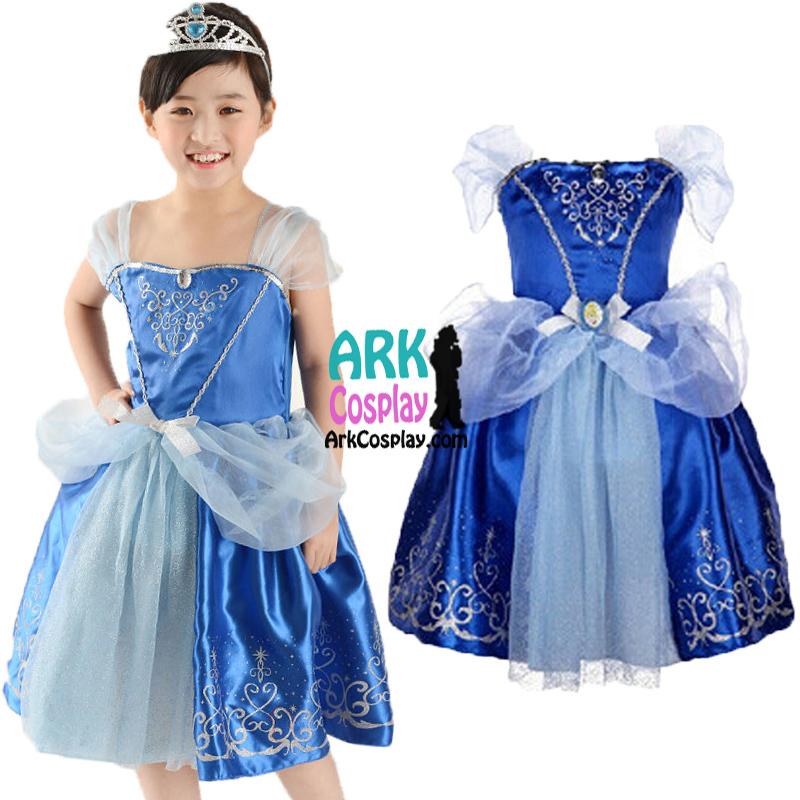 Cinderella Dress - 2015 New Movie Cinderella Princess Cosplay Girls Dress Kids Cosplay Costume For Child(China (Mainland))