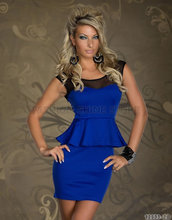 2014 New fashion OL Party Peplum Dress lace top Blue Free shipping thickening Bodycon club night mini dress(China (Mainland))
