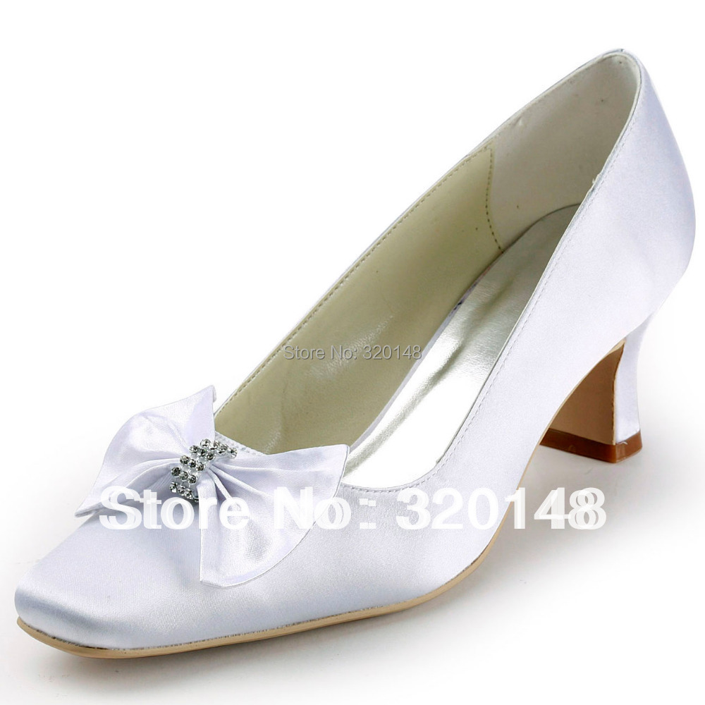 Free Gift EP11107 Square Toe Bow Rhinestone Chunky Heel Satin Ladies Evening Party Pumps Wedding Bridal Shoes<br><br>Aliexpress