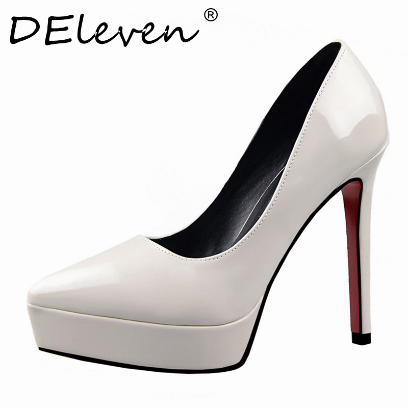 DEleven New Trends Women Leather Platform Sexy Red Sole Pointed Toe Stiletto High Heels Shoes Woman Wedding Pumps Shoe White Red(China (Mainland))