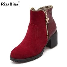 Autumn Winter Short Cylinder Boots High Heels Shoes Martin Women Ankle Side Zipper Thick Scrub Size 34-43 - BeinaMina store