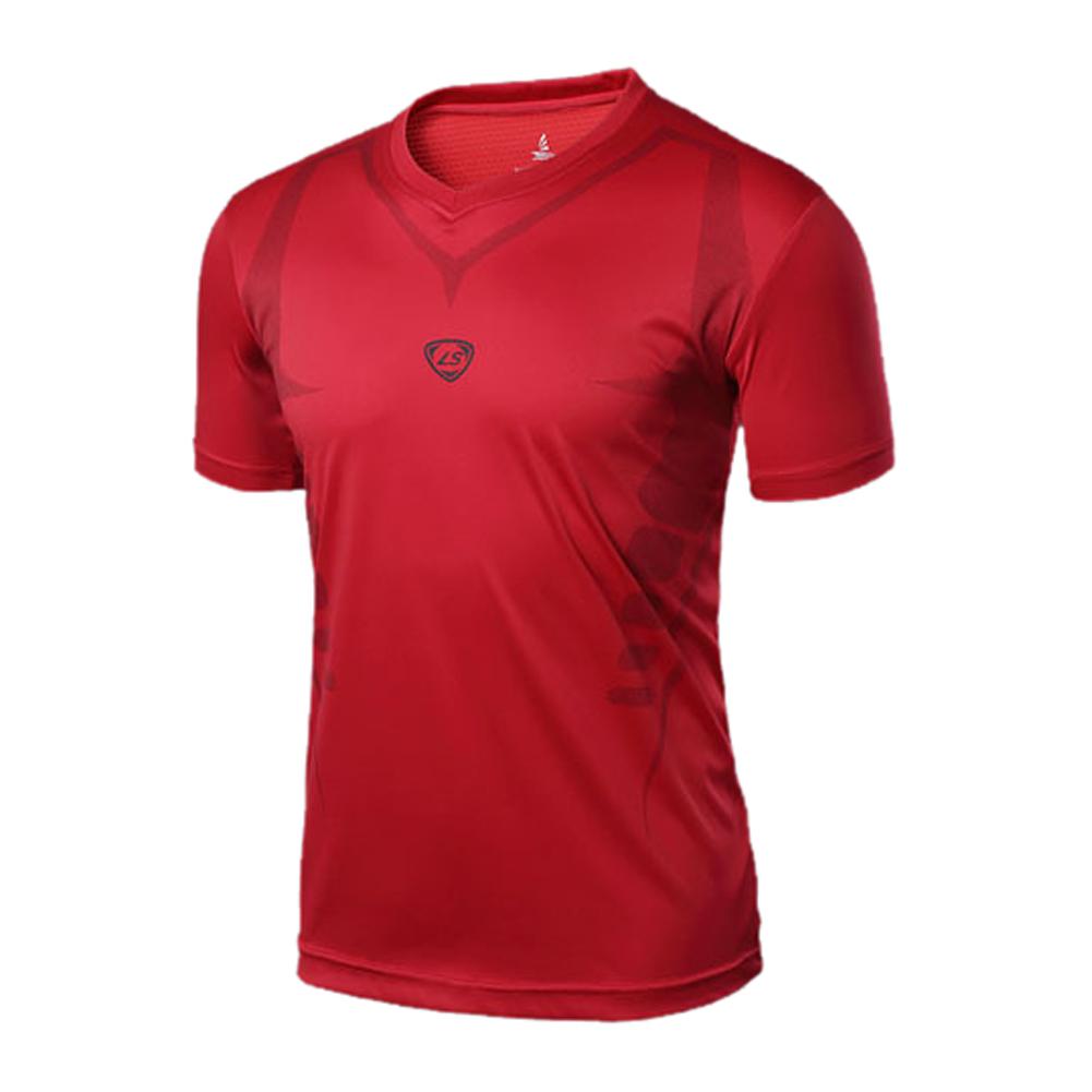 5 x (LUCKY SAILING LS07 Summer Outdoors T-Shirts Tops Slim Fit Sport Shirt V-neck Quick Dry men shirt Red XL(China (Mainland))