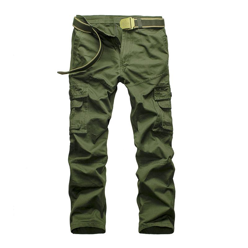Cotton Casual Men Pants Autumn Slim Fit Straight Pants Multi-pockets Long Full Plus size 40 Cargo Work Pants Khaki MilitaryОдежда и ак�е��уары<br><br><br>Aliexpress