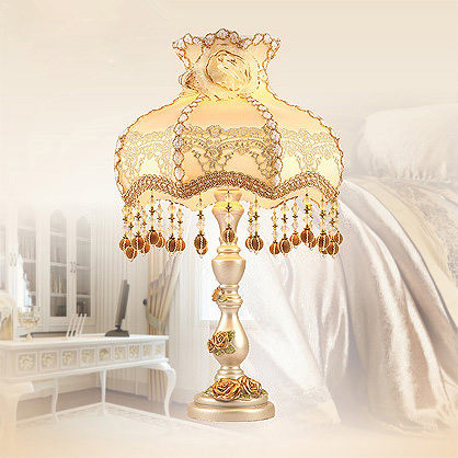 European Garden Resin Table Lamp Luxury Living Room Lamps Lace Lamp Shade with Crystals Decoration Bedroom Bedside Table Lamp(China (Mainland))